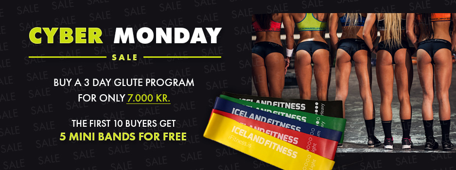 Cyber Monday Sale. Buy a 3 day glute program for only 7.000 kr. The first 10 buyers get 5 mini bands for free
